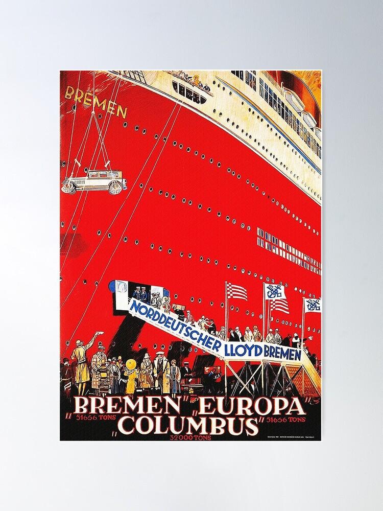 Alternate view of North German Lloyd ocean liner Bremen, 1929 Poster