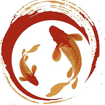 Koi fish in gold and red brush water color by asepsarifudin09