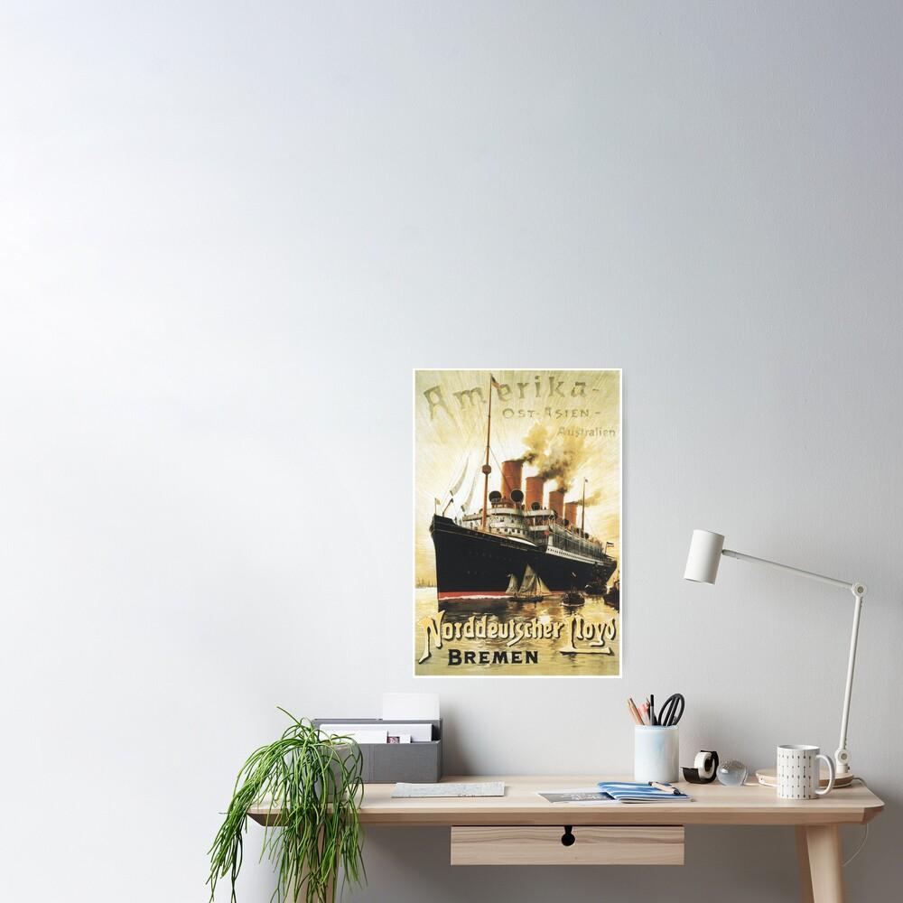 "To ""Amerika"", SS Kaiser Wilhelm Advertisement Poster"