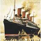 "To ""Amerika"", SS Kaiser Wilhelm Advertisement by edsimoneit"