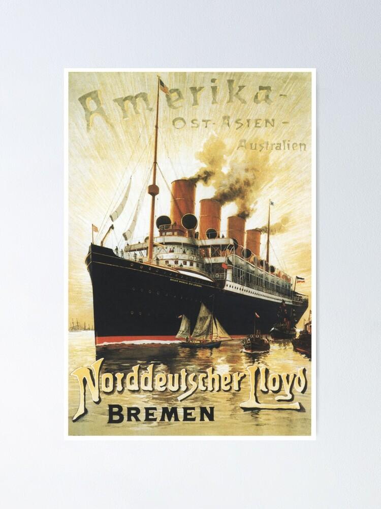 "Alternate view of To ""Amerika"", SS Kaiser Wilhelm Advertisement Poster"