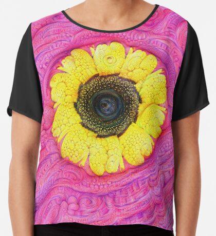 Sunflower on pink #DeepDream Chiffon Top