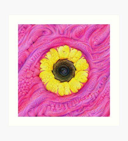 Sunflower on pink #DeepDream Art Print