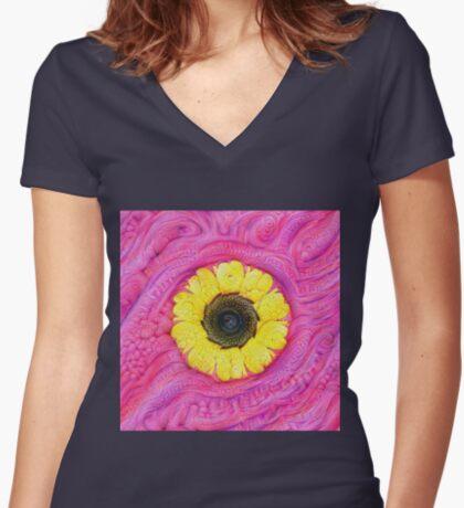 Sunflower on pink #DeepDream Fitted V-Neck T-Shirt