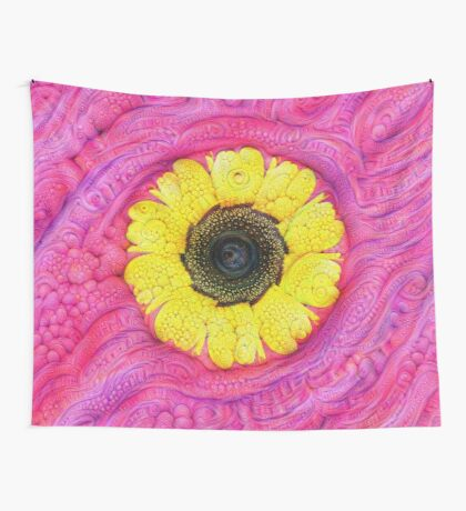 Sunflower on pink #DeepDream Wall Tapestry