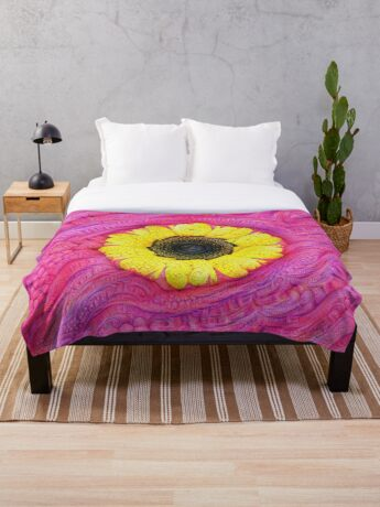 Sunflower on pink #DeepDream Throw Blanket