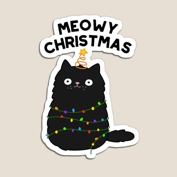 Meowy Christmas Animal Pun Magnet