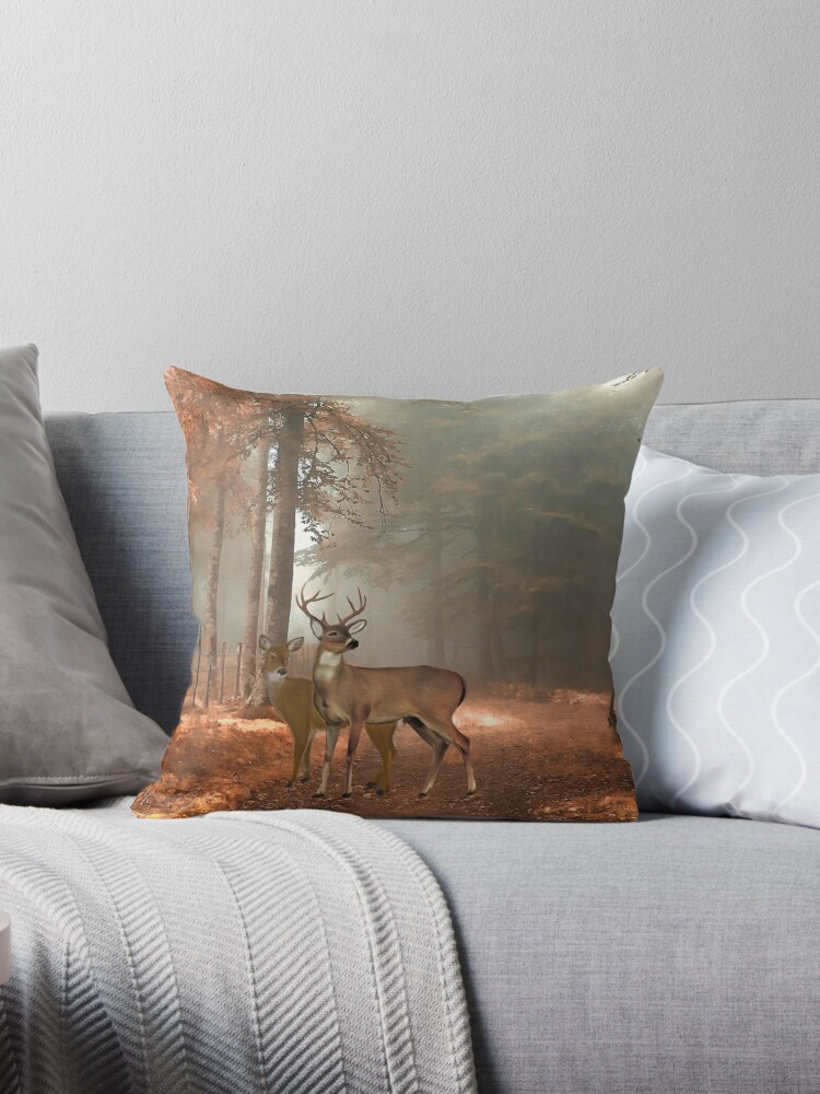 Quot Male And Female Whitetail Deer Quot Throw Pillow By Skyviper