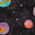 Watercolor Space Dinosaur by latheandquill