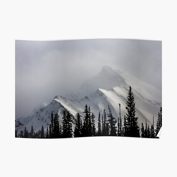Mountain with happy little trees Poster