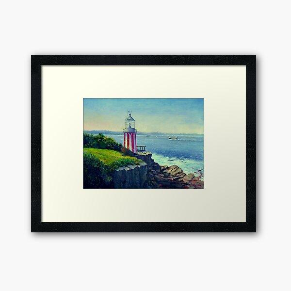 Painting of Hornby Lighthouse Sydney Australia Framed Art Print