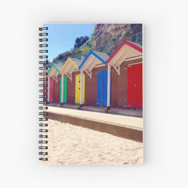 Colorful Beach Sheds Spiral Notebook