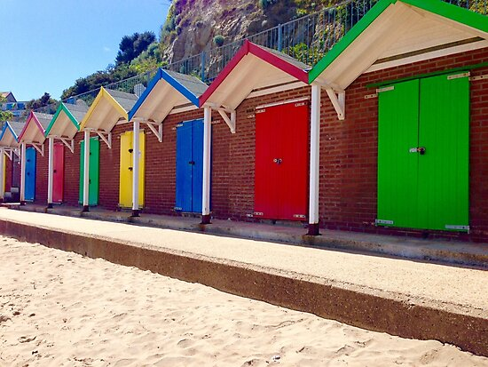 Colorful Beach Sheds by suitcaseofbks