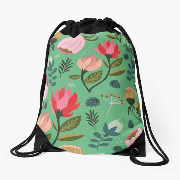 Pretty Florals Drawstring Bag