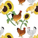 Summertime Chickens and Sunflowers by fionaostby