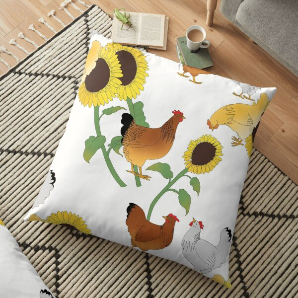 Summertime Chickens and Sunflowers Floor Pillow