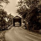 Bitzer's Mill Covered Bridge in sepia (built 1846) by Jane Neill-Hancock
