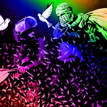 Banksy Inspired Israeli Palestinian Pillow Fight Rainbow by Loredan