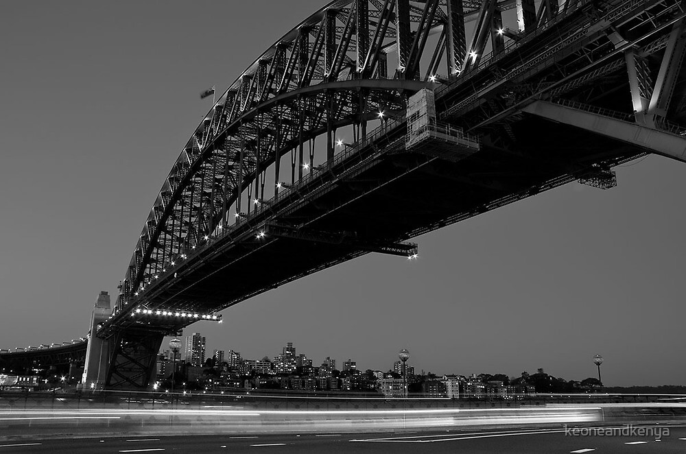 Sydney Harbour Bridge and Motion Trails by keoneandkenya