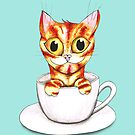 Striped coffee cat by Bwiselizzy