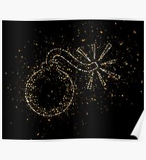Blast bomb explosion golden ornament Gold Poster