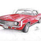 1969 Red Camaro by Joseph Colella