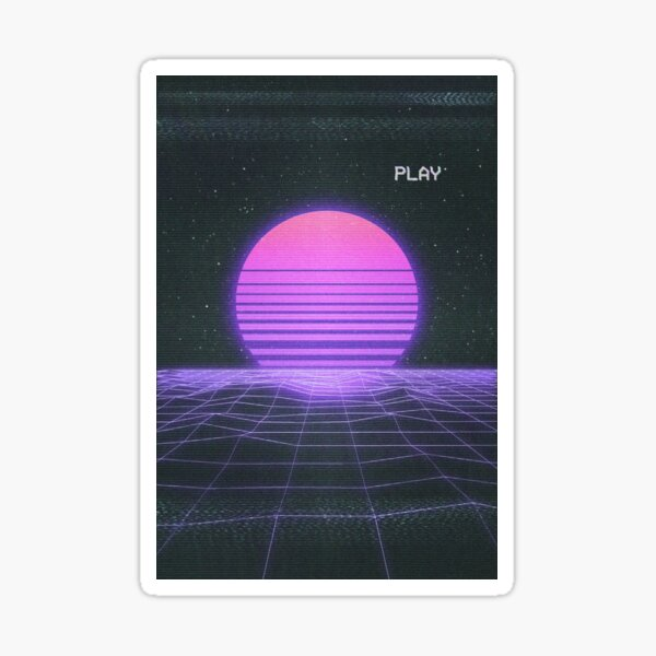 Synthwave Nostalgia Sunset Sticker