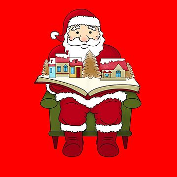 Ugly Christmas Sweater Santa Claus with a Xmas Book by BossBabeArt
