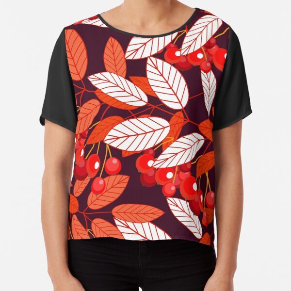 The leaves and berries of mountain ash. Seamless pattern. The Botanical pattern on a dark background. Autumn mood Chiffon Top