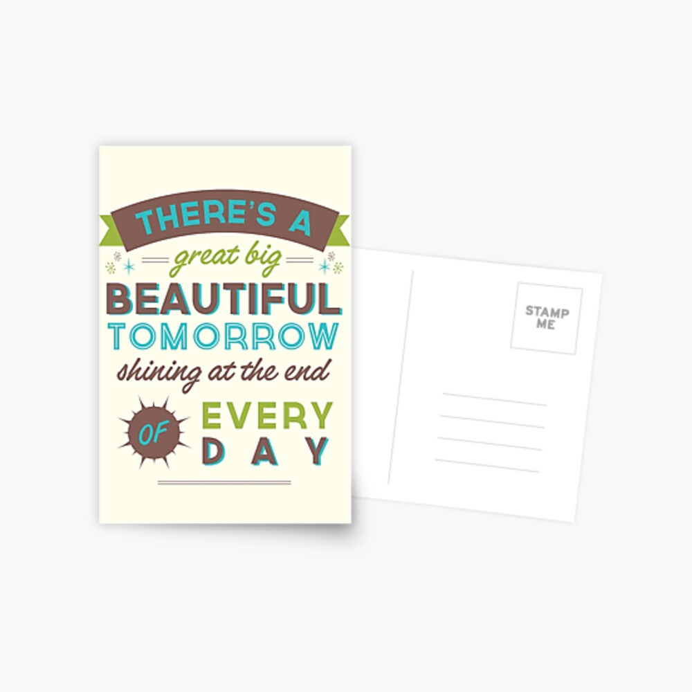 Beautiful Tomorrow (For light backgrounds) Postcard