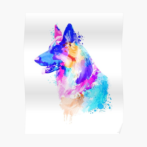 German Shepherd, German Shepherd Painting, German Shepherd Portrait, German Shepherd art, German Shepherd illustration Poster