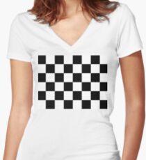 Zielflagge, Zielflagge, Motorsport, Schachbrettmuster, Muster, GEWINNEN, SIEGER, Rennwagen, Rennen, Ziellinie, SCHWARZ Tailliertes T-Shirt mit V-Ausschnitt