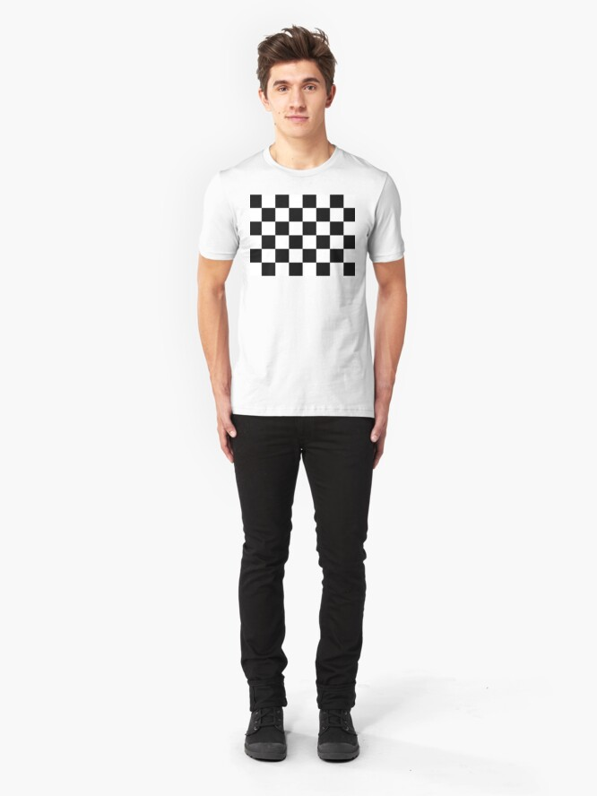 Alternate view of Checkered Flag, Chequered Flag, Motor Sport, Checkerboard, Pattern, WIN, WINNER,  Racing Cars, Race, Finish line, BLACK. Slim Fit T-Shirt