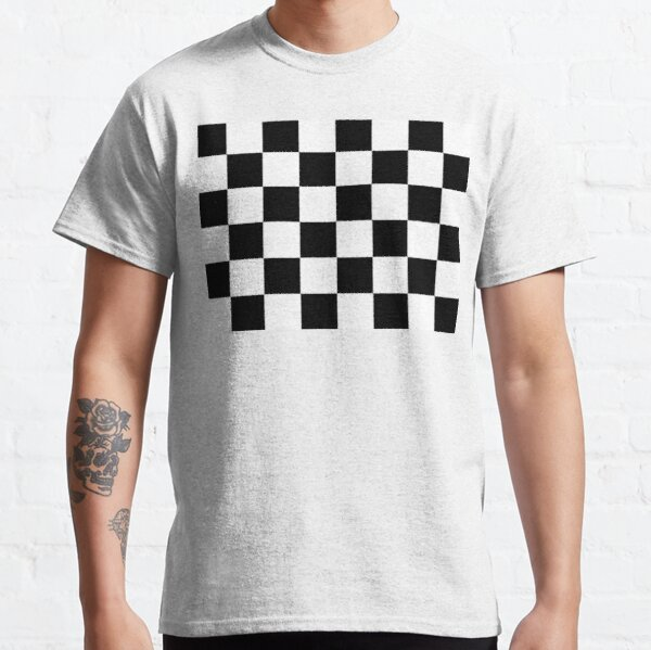 Checkered Flag. Chequered Flag. Motor Sport. Checkerboard. Pattern. WIN. WINNER.  Racing Cars. Race. Finish line. BLACK. Classic T-Shirt