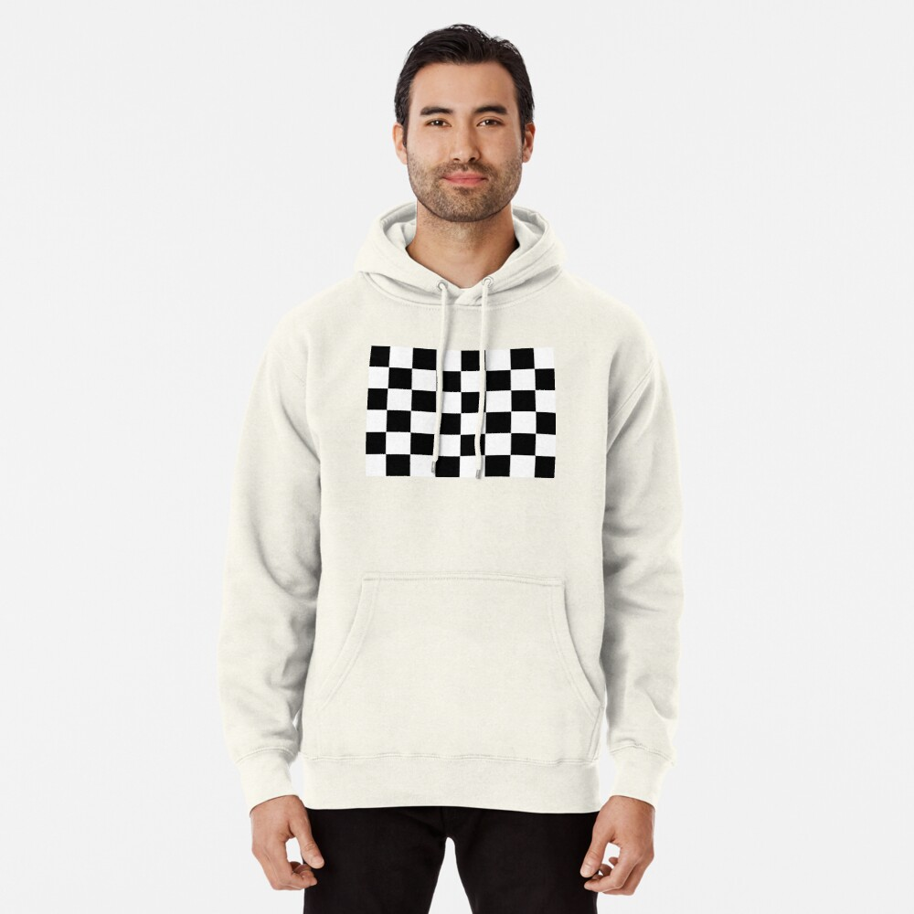 Checkered Flag, Chequered Flag, Motor Sport, Checkerboard, Pattern, WIN, WINNER,  Racing Cars, Race, Finish line, BLACK Pullover Hoodie