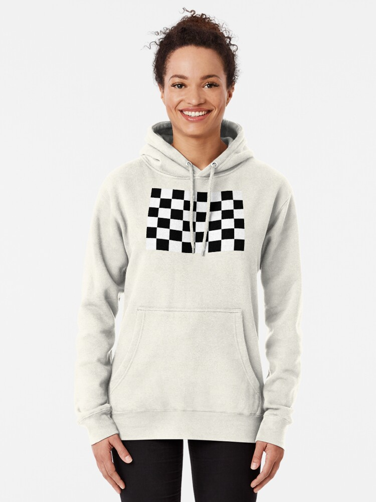 Alternate view of Checkered Flag, Chequered Flag, Motor Sport, Checkerboard, Pattern, WIN, WINNER,  Racing Cars, Race, Finish line, BLACK Pullover Hoodie