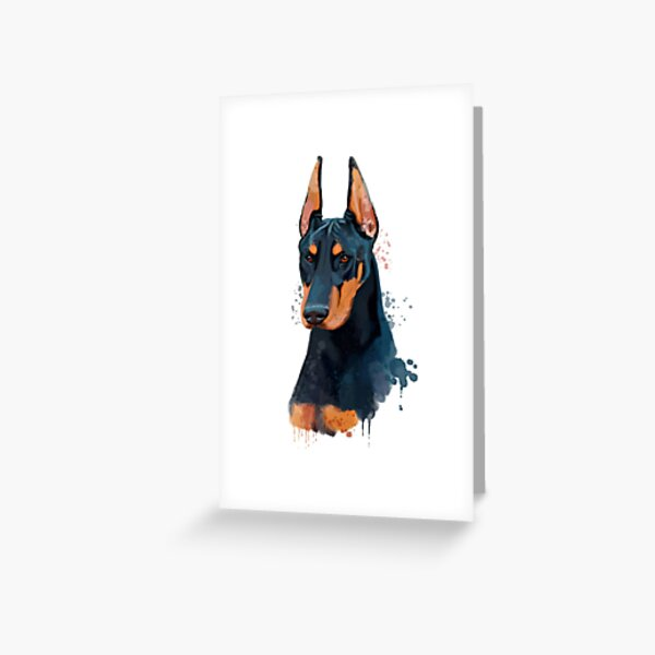 Doberman Pinscher Watercolor, Doberman Pinscher Painting, Doberman Pinscher Portrait, Doberman Pinscher art, Doberman Pinscher illustration Greeting Card
