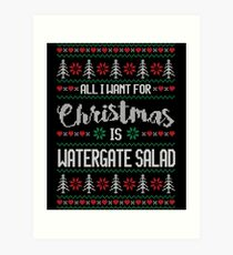 All I Want For Christmas Is Watergate Salad Ugly Christmas Sweater Art Print