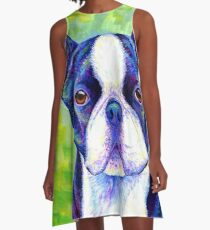 Colorful Boston Terrier Dog A-Line Dress