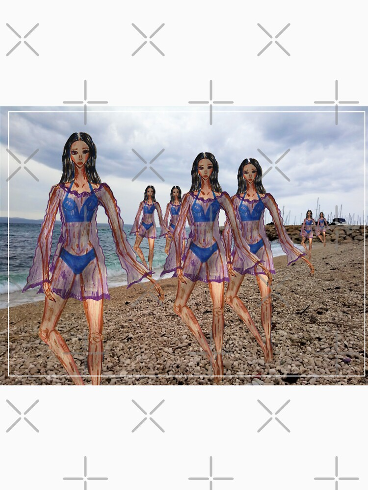 Girls In A Blue Swimsuit Fashion Drawing Collage by IvanaKada