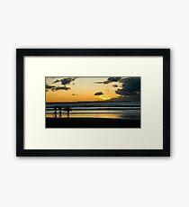 Surfing at Sunset, Croyde Bay Framed Print