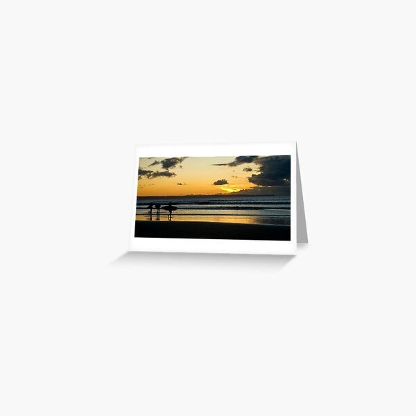 Surfing at Sunset, Croyde Bay Greeting Card