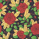 Red Roses and Crystals Pattern by Anastasia Shemetova