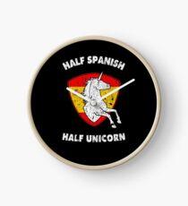 Half Spanish Half Unicorn Spain Gift for Women Girls Clock