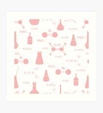 Scientific pattern. Chemistry, biology, medicine. Art Print