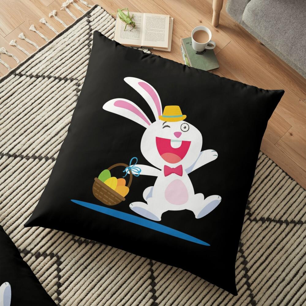 Rabbit From A Tale Walking With A Basket Cartoon Cojines de suelo