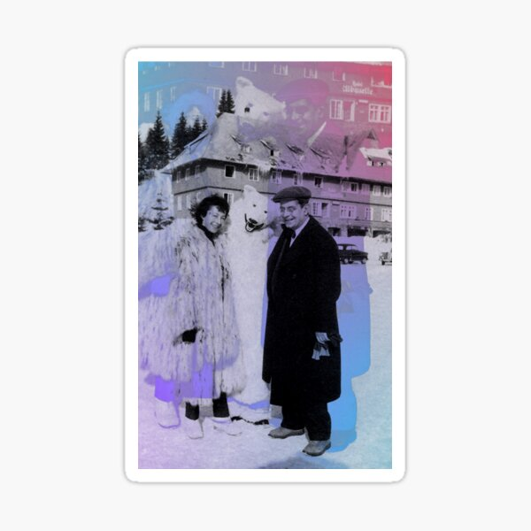 Sylvia Bataille and Jacques Lacan chillin with a polar bear  Sticker