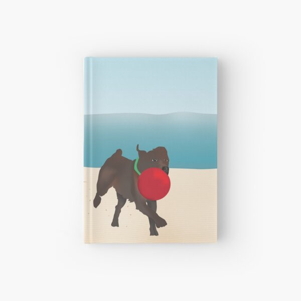 Boy and Dog Playing Ball at the Beach Hardcover Journal