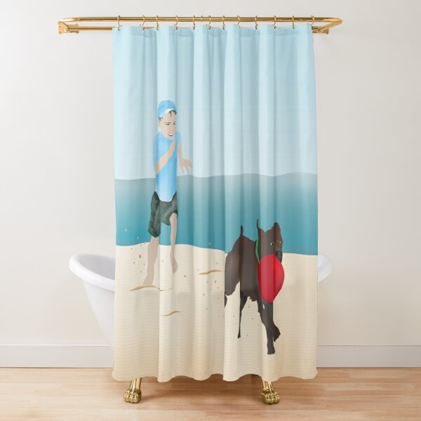 Boy and Dog Playing Ball at the Beach Shower Curtain