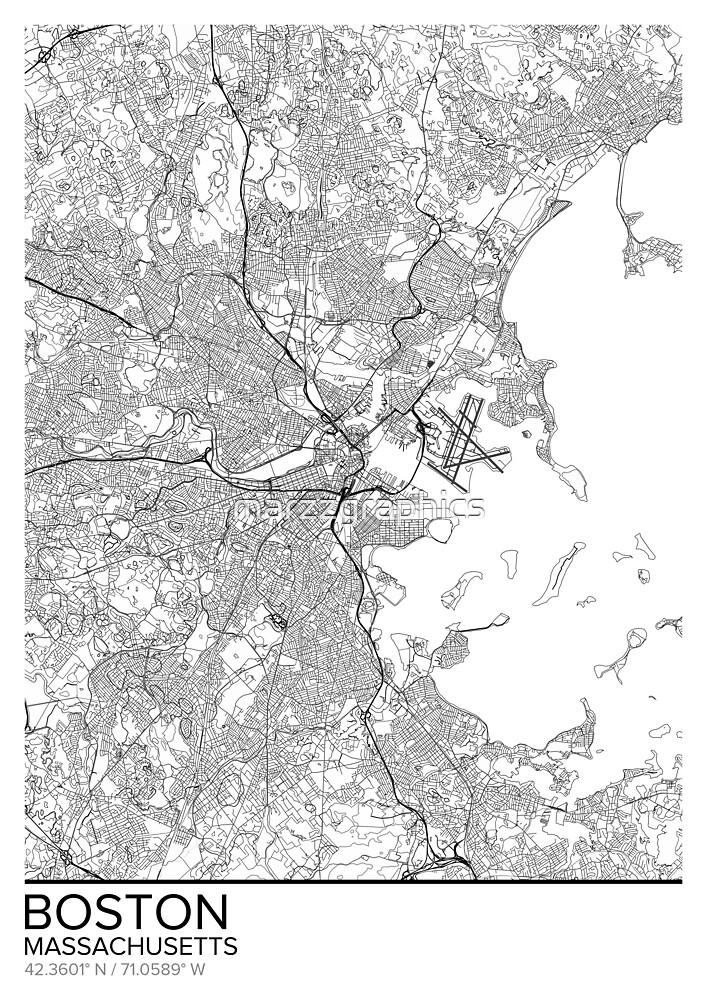 Boston Map Poster Print Wall Art Massachusetts Gift Home And